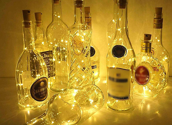 Battery Powered Wine Bottle Lights With Cork 1m/2m LED Copper Wire Colorful