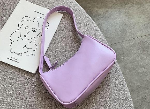 Soft PU Leather Women Purple Underarm Bag Retro Solid Color Ladies Baguette