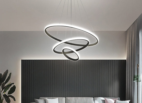 Modern Pendant Lamp Led Rings Circle Ceiling Hanging Chandelier Black Loft Livin