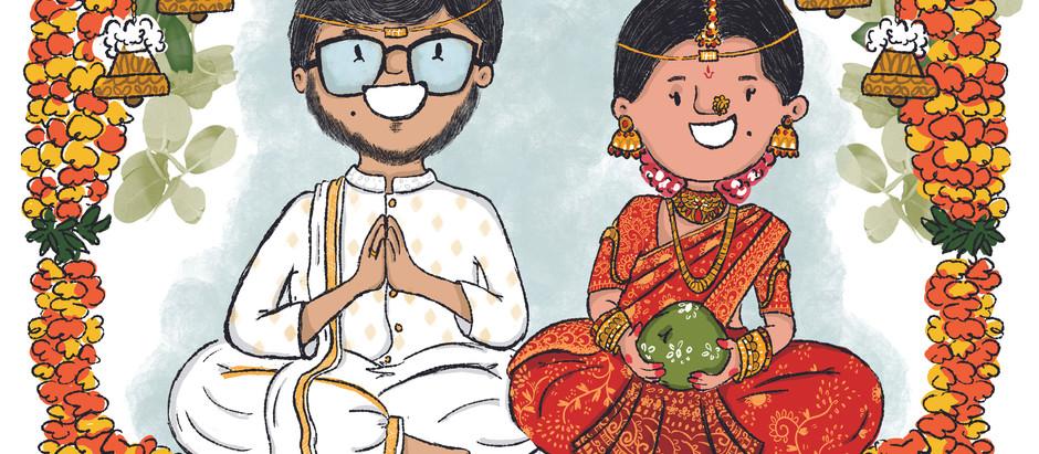 Bride,Groom and a Dog - a telugu wedding invite