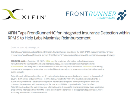 XIFIN taps FrontRunnerHC for integrated insurance detection to help labs maximize reimbursement