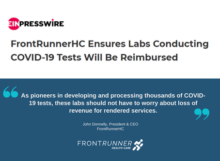 FrontRunnerHC ensures labs conducting COVID-19 tests will be reimbursed