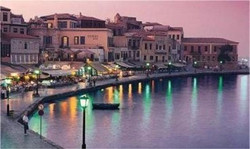 chania-harbour at night