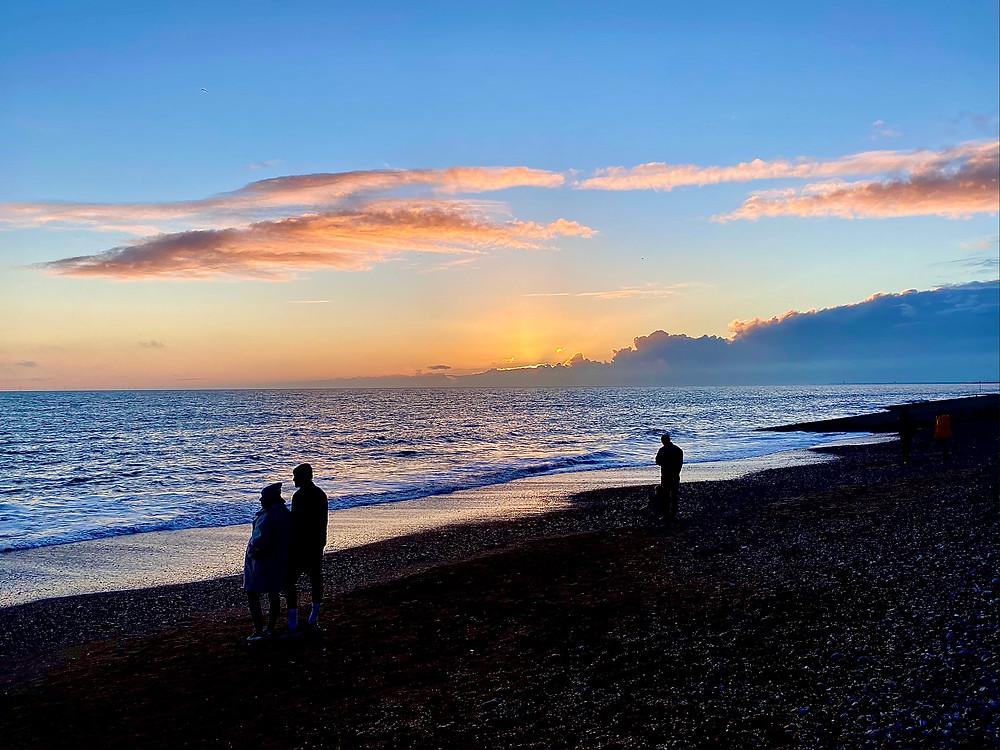 Sunset on lancing beach.