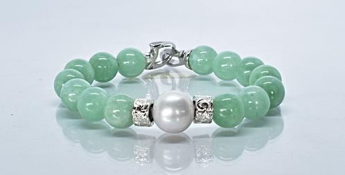 Na Wahine Pearl Kai Bracelet 10mm Green Jade