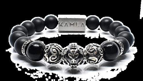 Ahonui Bracelet 10mm Matte Black Banded Agate