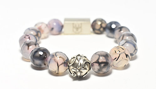 Diamond Head Bracelet 12mm Faceted Dragon Vein Agate