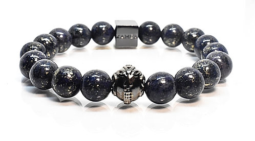 Deep Blue II GT Bracelet 10mm Blue Pyrite Beads