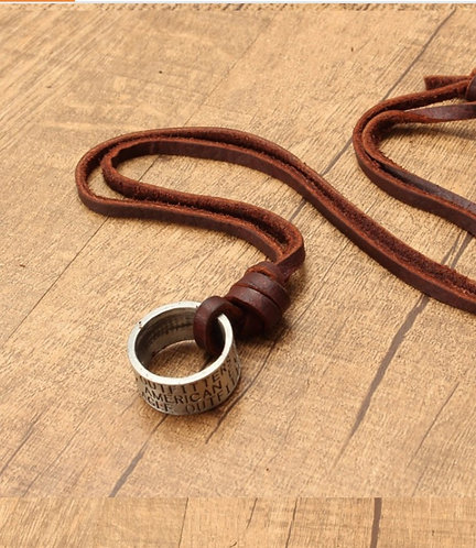 Logo Scroll Ring Necklace
