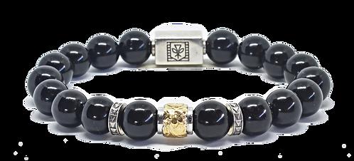 Scroll Signature Bracelet 10mm Black Obsidian