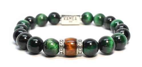 'io Bracelet 10mm.  Green Tiger Eyes or Hawk Eyes
