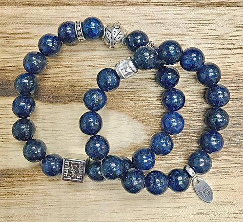 Couple's Bracelets 10mm Blue Lapis Lazuli Valentine Special