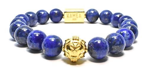 Gold Signature Bracelet 10mm Blue Lapis