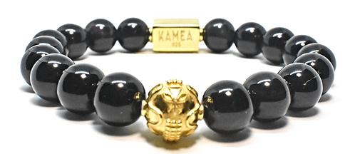 Gold Signature Bracelet 10mm Black Obsidian