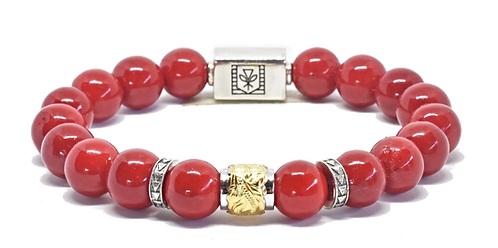 Scroll Signature Bracelet 10mm Red Coral