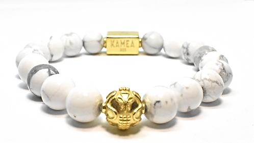 Gold Signature Bracelet 10mm Howlite