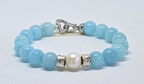 Na Wahine Pearl Kai Bracelet 10mm Light Blue Jade
