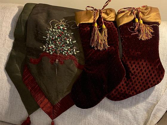 Christmas runner and stockings