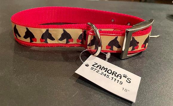"""36 Zamora's doberman head and hearts collar 2"""" x 18"""""""