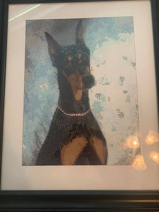 Framed Needlepoint Doberman Picture