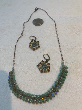 Beaded necklace and earrings