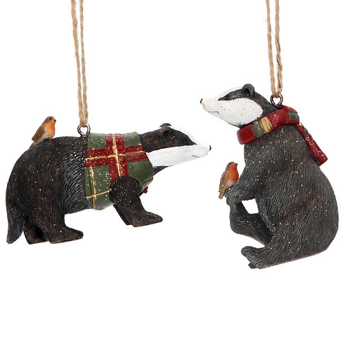 BADGER WITH TARTAN SCARF OR COAT