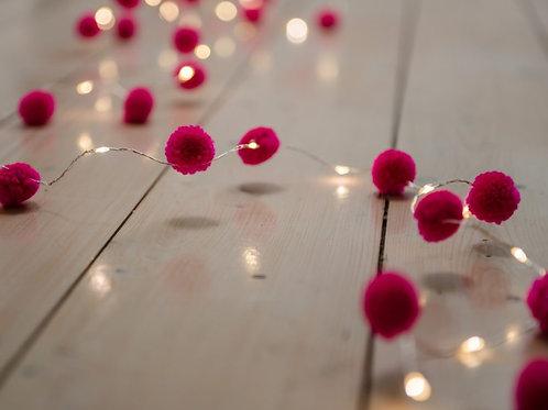POM POM FAIRY LIGHTS - PINK