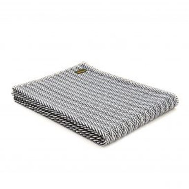 COTTON HERRINGBONE THROW - NAVY