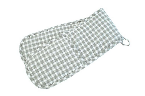 PORTLAND CHECK DOUBLE OVEN GLOVE - DOVE GREY