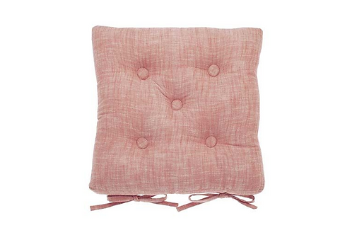 CHAMBRAY SEAT PAD WITH TIES TERRACOTTA BLUSH