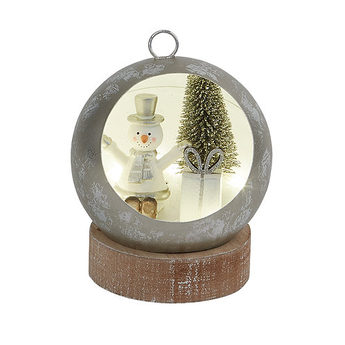 SMALL LED BAUBLE WITH SNOWMAN SCENE