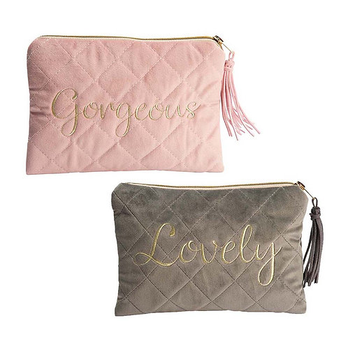 QUILTED VELVET MAKEUP BAG-LOVELY