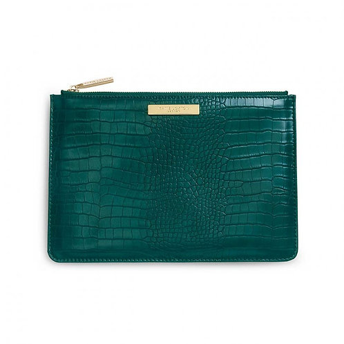 FAUX CROC PERFECT POUCH -  FOREST GREEN