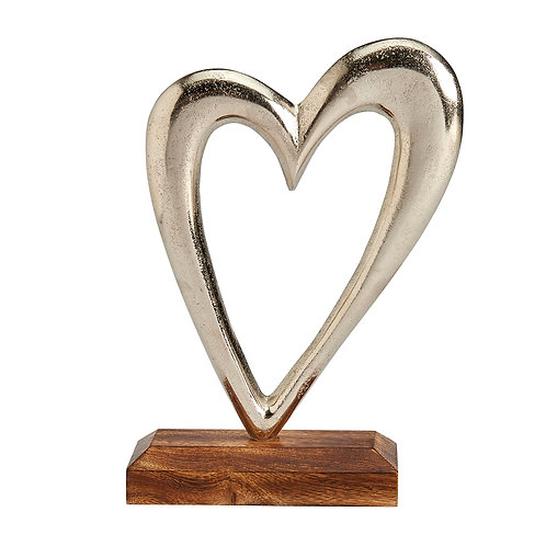 LARGE SILVER METAL HEART