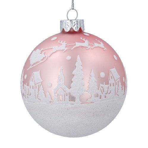 PINK GLASS BALL - GLITTER SNOW SCENE