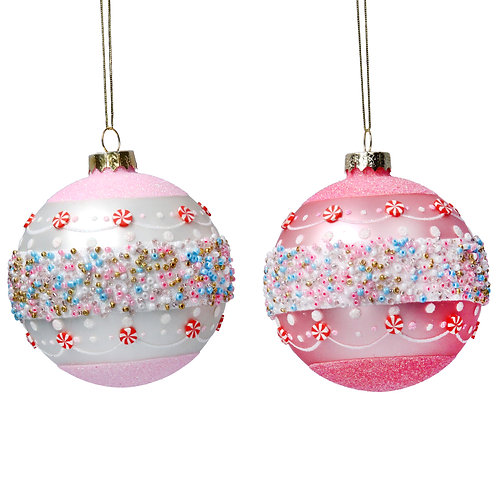 GLASS BALL WITH PASTEL BEAD BAND - PINK OR WHITE