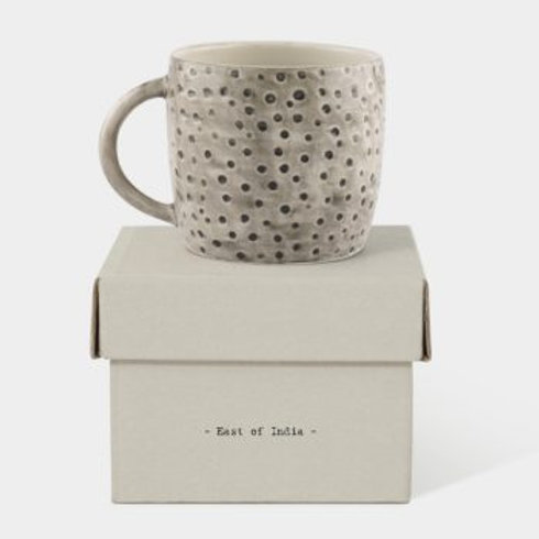 RUSTIC MUG PAINTED DIMPLED SPOTS  - BOXED