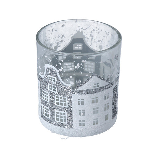 CLEAR GLASS POT WITH SILVER HOUSES