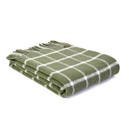 CHEQUERED OLIVE THROW