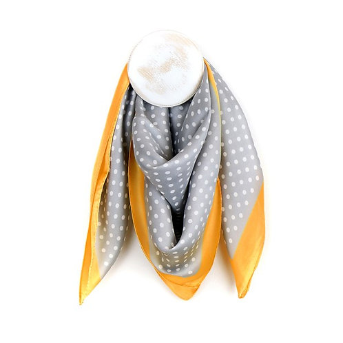 SQUARE SILK SCARF-GREY & WHITE SPOT WITH YELLOW BORDER