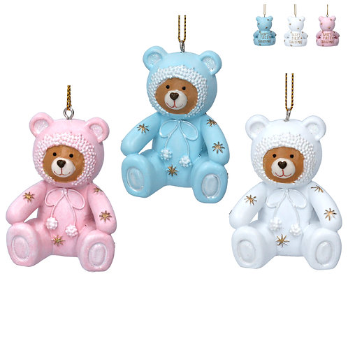 BABY'S FIRST CHRISTMAS TEDDY - PINK, WHITE, BLUE