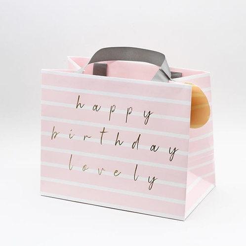 GIFT BAG -  HAPPY BIRTHDAY PINK STRIPE