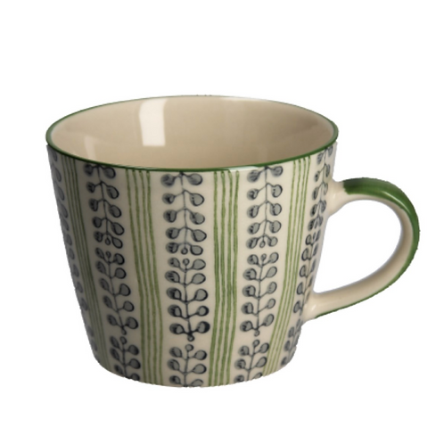 CERAMIC MUG - GREEN STRIPES & BERRIES