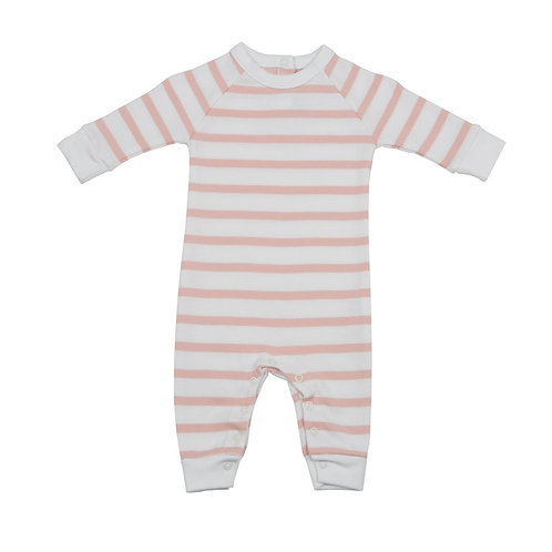 DUSTY PINK & WHITE BRETON STRIPED ALL-IN-ONE