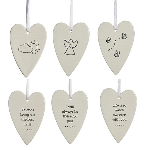 DOUBLE SIDED CERAMIC HEART DECORATION