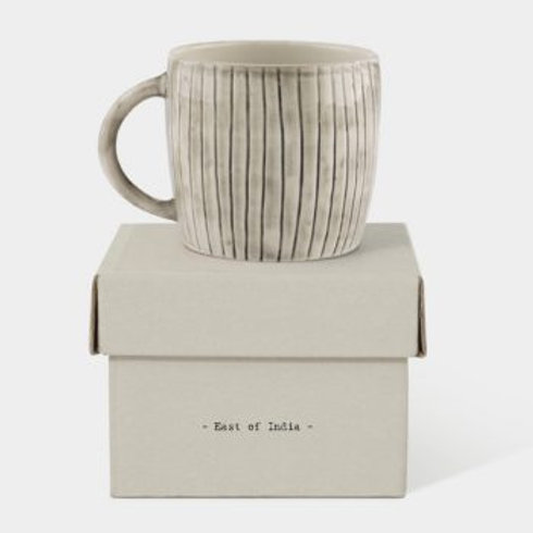 RUSTIC MUG PAINTED SCRATCHED LINES - BOXED