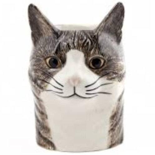 CAT PENCIL POT - GREY