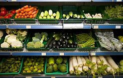 Various fresh vegetables in supermarket.