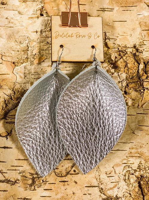 Silver Sheen Leather Leaf Earrings