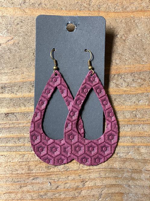 Violet Tear Drop Leather Earrings